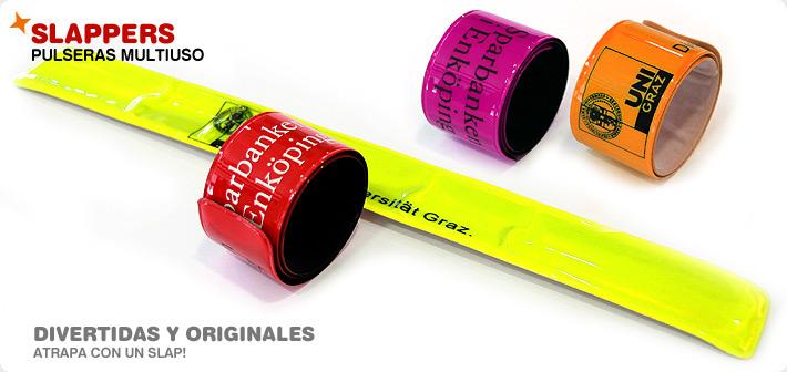 4718119159d4 Pulseras SLAPPER de PVC Tampografía de alta definición de 1 a 4 tintas.  Pulseras de acero flexo-tensionado y recubierto de vinilo brillante y  reflectante.